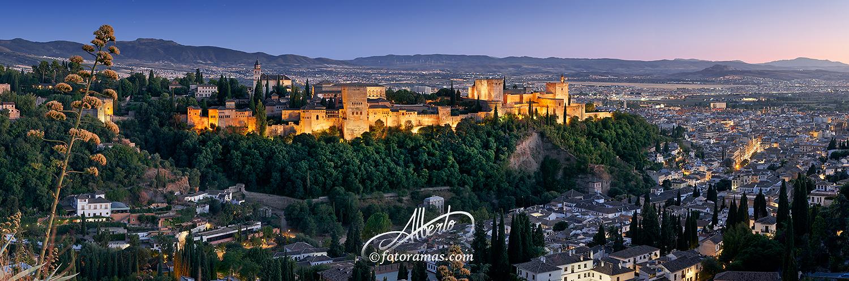 Vista Nocturna de la Alhambra de Granada