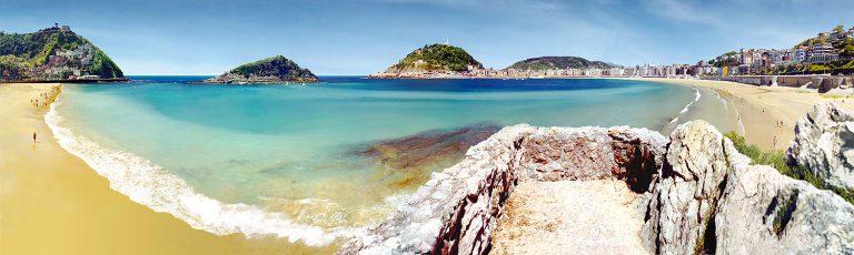 Playas de Ondarreta y la Concha en Donostia San Sebastian Gipuzkoa