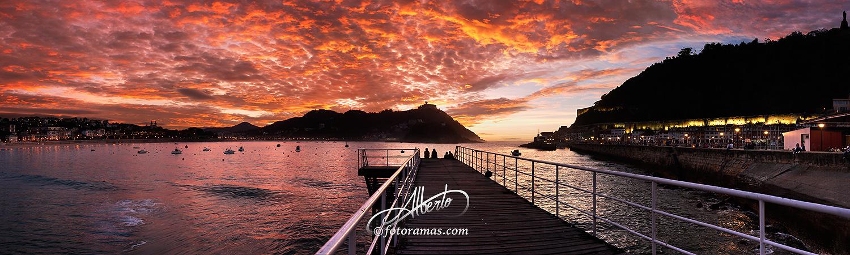 Puesta de Sol Roja en el Nautico Donostia San Sebastian